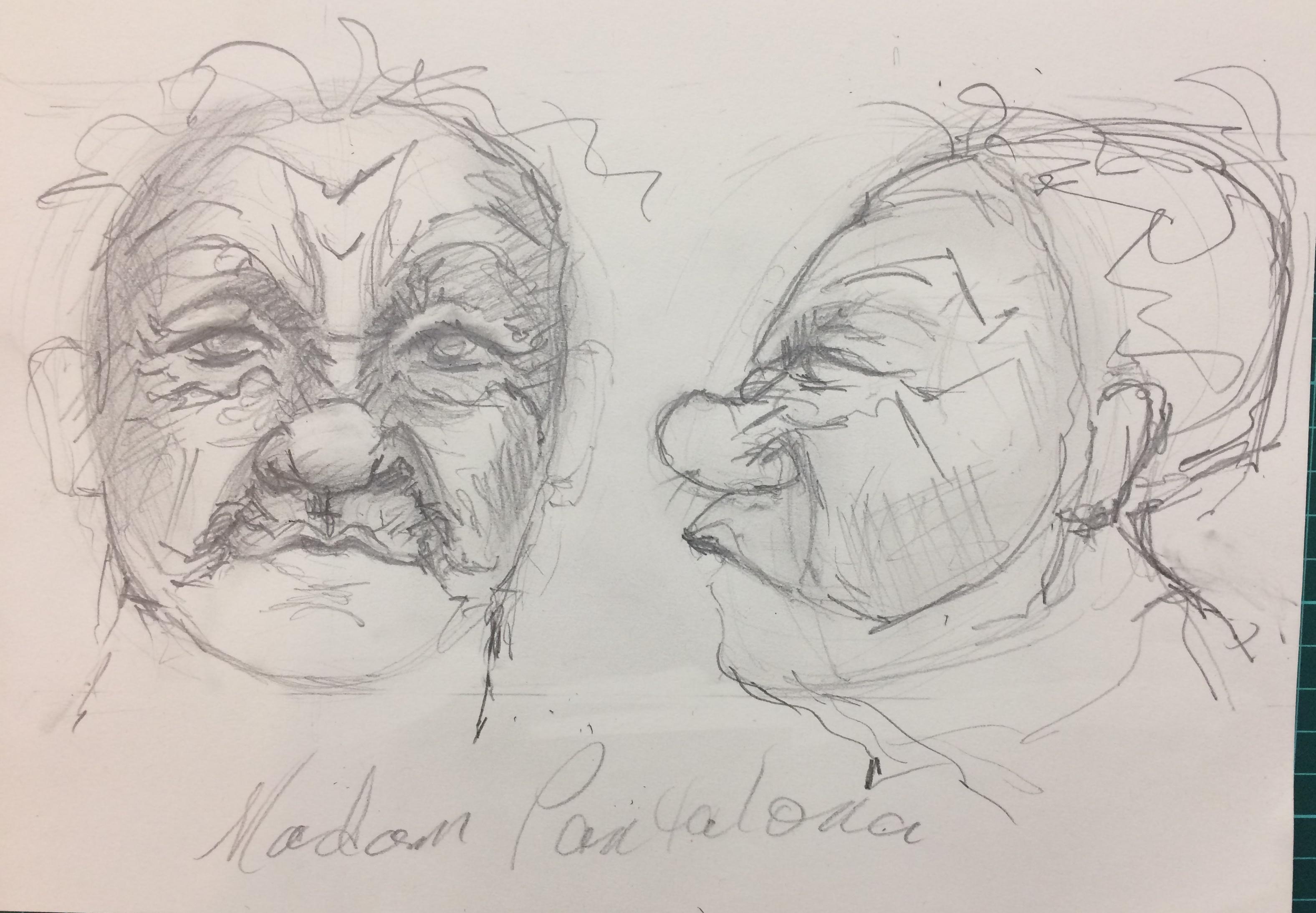 Commedia Dellarte Masks Drawing